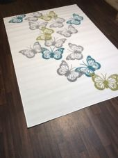 Modern Rugs Approx 6x4ft 120x170cm Woven Backed Cream/Green Butterfly rugs